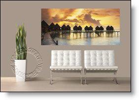 Tiki Resort Panoramic at Sunset Wall Mural