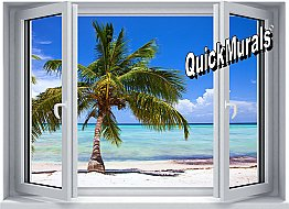 Palm View Window One-piece Peel & Stick Canvas Wall Mural