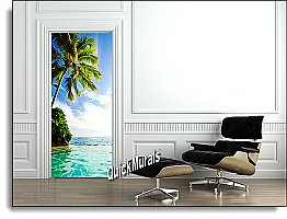 Island Paradise ONE-PIECE PEEL & STICK CANVAS WALL/DOOR MURAL