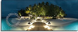Mirihi Island at Night One-piece Peel & Stick Canvas Wall Mural