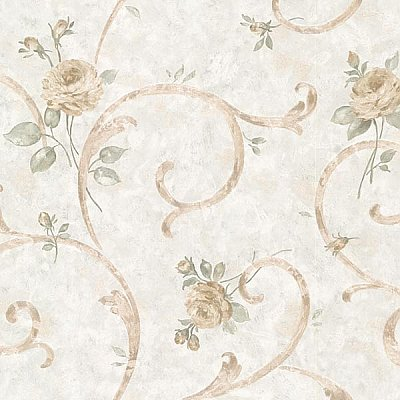 Lotus Blue Floral Scroll Wallpaper