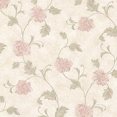 Louise Pink Vintage Floral Trail Wallpaper