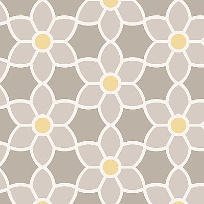 Blossom Grey Geometric Floral Wallpaper