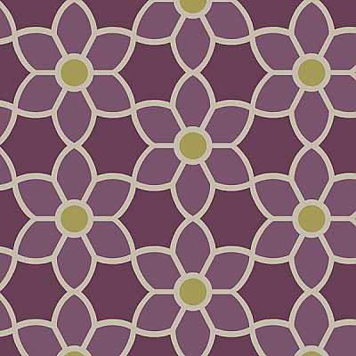 Blossom Purple Geometric Floral Wallpaper