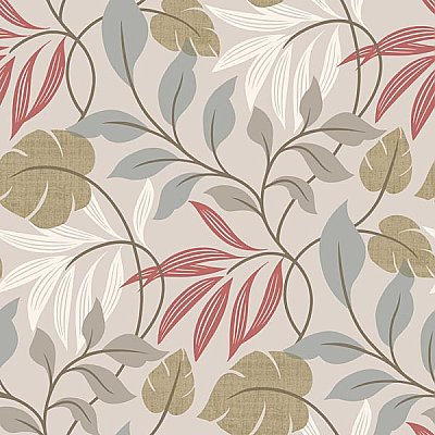 Eden Grey Modern Leaf Trail Wallpaper