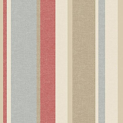 Raya Red Linen Stripe Wallpaper