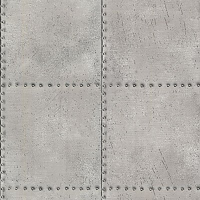 Riveted Silver Industrial Tile Wallpaper