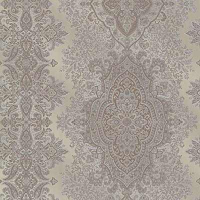 Benedict Pewter Ornate Paisley Stripe Wallpaper