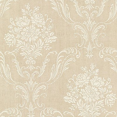 Manor Beige Floral Damask Wallpaper