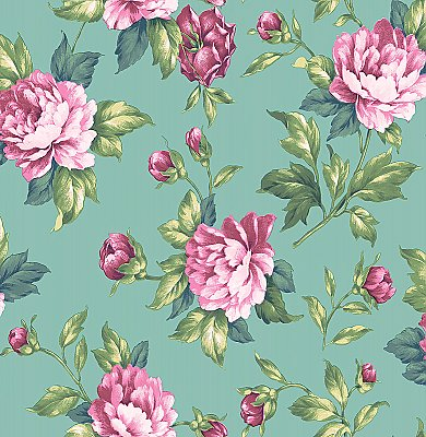 Catherine Green Floral Wallpaper