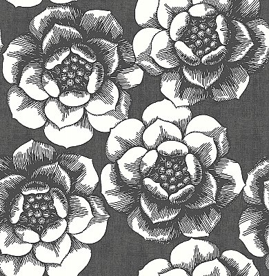 Fanciful Black Floral Wallpaper