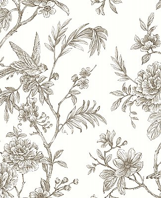 Jessamine Taupe Floral Trail Wallpaper