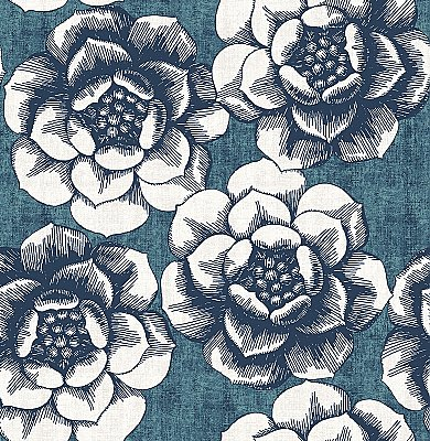 Fanciful Blue Floral Wallpaper