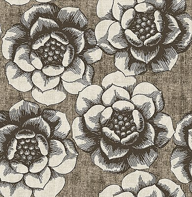 Fanciful Brown Floral Wallpaper