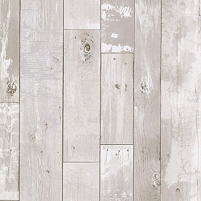 Harbored Light Grey Distressed Wood Panel Wallpaper