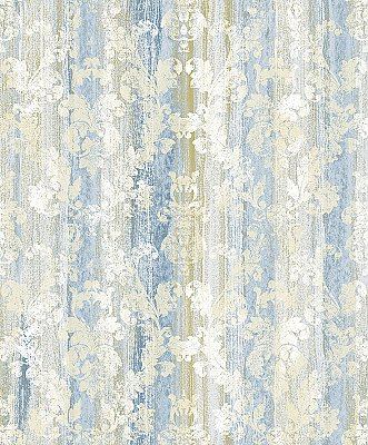Camilia Blue Damask  Wallpaper
