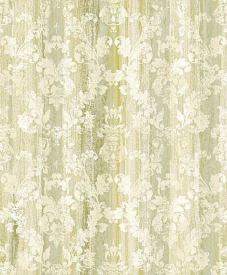 Camilia Green Damask  Wallpaper