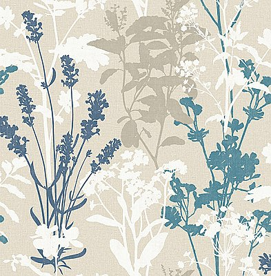 Conant Teal Wild Flowers Wallpaper