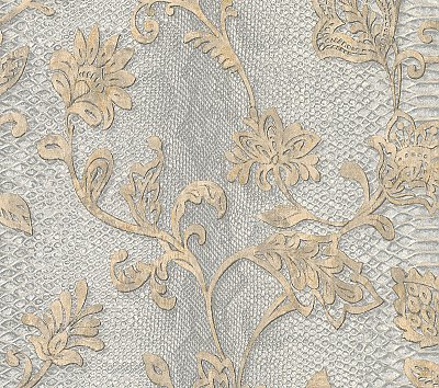 Puglia Light Grey Python Arabesque Wallpaper