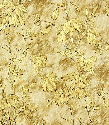 Portofino Gold Cow Leaves Wallpaper