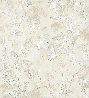 Portofino Off-White Cow Leaves Wallpaper