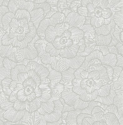 Periwinkle Light Grey Textured Floral Wallpaper