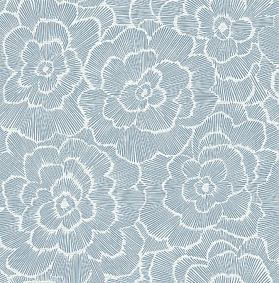Periwinkle Grey Textured Floral Wallpaper