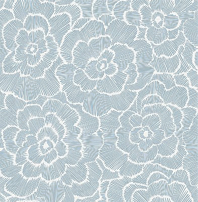 Periwinkle Blue Textured Floral Wallpaper