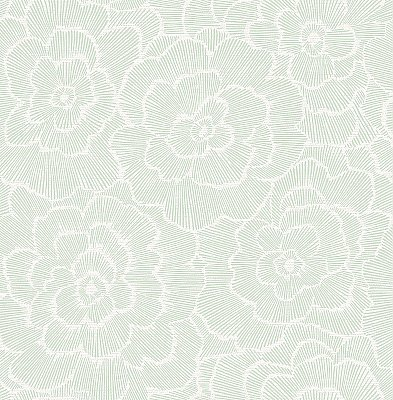 Periwinkle Green Textured Floral Wallpaper