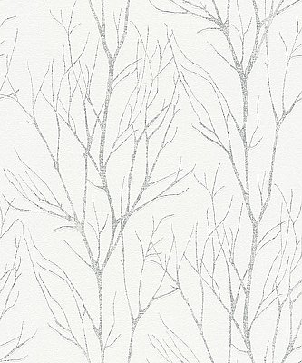 Diani White Metallic Tree Wallpaper