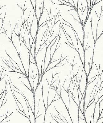 Diani Charcoal Metallic Tree Wallpaper