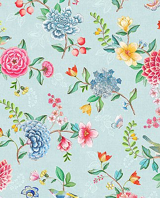 Good Evening Light Blue Floral Garden Wallpaper
