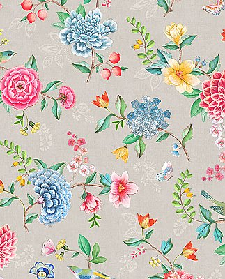 Good Evening Taupe Floral Garden Wallpaper