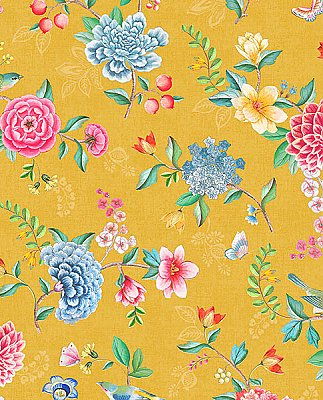 Good Evening Yellow Floral Garden Wallpaper