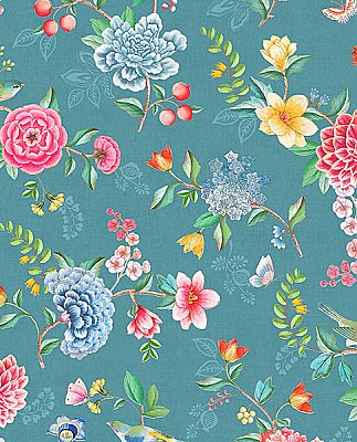 Good Evening Teal Floral Garden Wallpaper