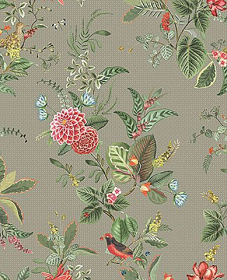 Floris Khaki Woodland Floral Wallpaper
