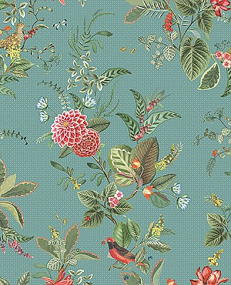 Floris Turquoise Woodland Floral Wallpaper