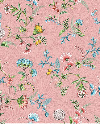 La Majorelle Pink Ornate Floral Wallpaper