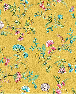 La Majorelle Yellow Ornate Floral Wallpaper