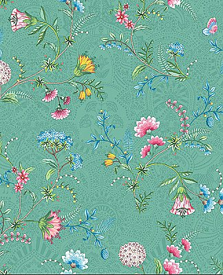 La Majorelle Green Ornate Floral Wallpaper