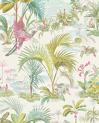 Calliope White Palm Scenes Wallpaper