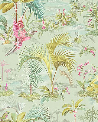 Calliope Seafoam Palm Scenes Wallpaper