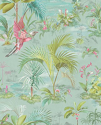 Calliope Light Blue Palm Scenes Wallpaper