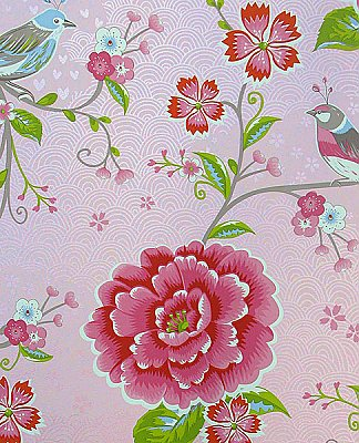 Yuma Light Pink Birds in Paradise Wallpaper