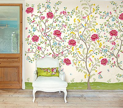 White Morning Glory Wall Mural