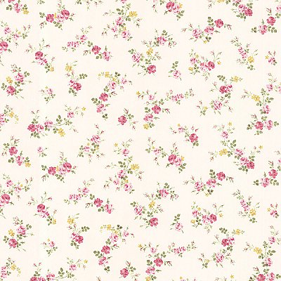 Turtledove Pink Small Rose Toss Wallpaper