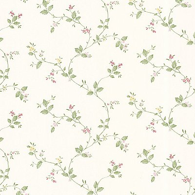 Vance Pink Winding Floral Trail Wallpaper
