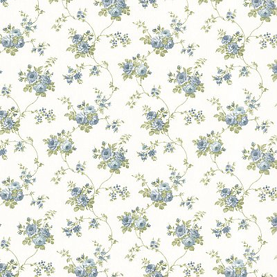 Drury Blue Blooming Floral Trail Wallpaper