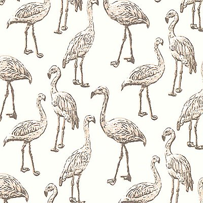 Flamingo Light Grey Graphic Wallpaper