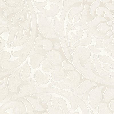 Cascada Cream Flocked Medallion Wallpaper